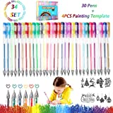 penne gel colorate 30 Multicolore Penne Gel Glitter - glitter, metallico, neon glitterato, pastello set di penne gel con 4 modelli di pittura Ottime per Scarabocchiare e Abbozzare