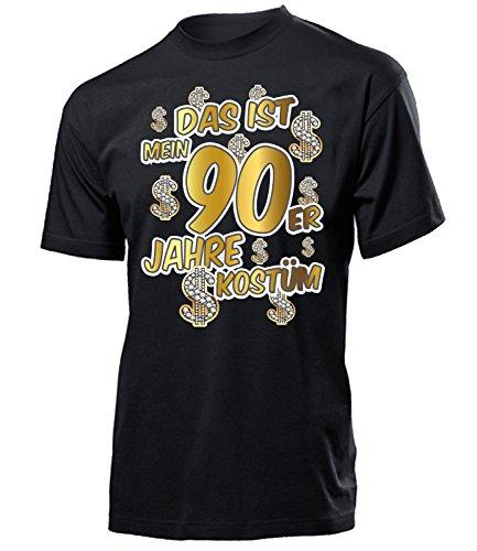 Das ist Mein 90er Jahre Kostüm Herren T-Shirt Mottoparty Schlagerparty 4524 Karneval Fasching Faschingskostüm Karnevalskostüm Erwachsene Schwarz XL