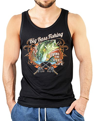 Angler Fischer Top - Big Bass Fishing Living The Reel Life - Modern Art Fishing mit US-Motiv (Us-reel)