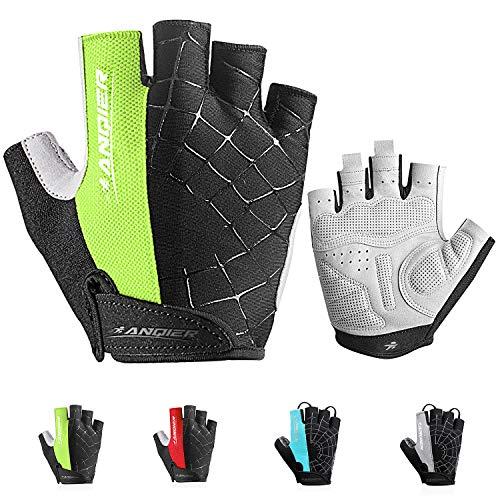 coskefy Fahrrad Handschuhe Herren Fitness Handschuhe Damen Halbfinger Gepolstert Atmungsaktive Rutschfest Mountainbike Radsporthandschuhe(Grün2,XL)