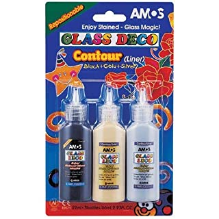 1 x Gold 22ml Amos Peelable Glass Art Decoration Art Paint Outliner
