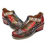 gracosy Damen Mary Jane Schuhe Leder Low Block Heels Pumps Atmungsaktives Mesh Freizeitschuhe Vintage Chic Party Schuhe Retro Handgefertigte Schuhe Bunte
