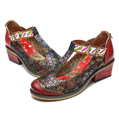 gracosy Mary Jane da Donna, Mocassini di Pelle Tacco Medio Pompe Scarpe da Balletto Loafers Casual...