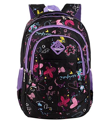 Happy Cherry Schulrucksack Blumen Schulranzen Schultasche Sports Rucksack Freizeitrucksack Daypacks Backpack für Mädchen Jungen Kinder Damen Herren Jugendliche-Lila Lila