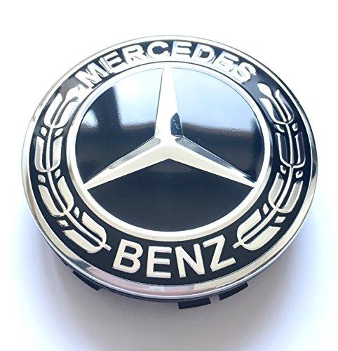 Felgendeckel Lot de 4 Cache-moyeux de Roue pour Mercedes Benz Noir/chromé 75 mm