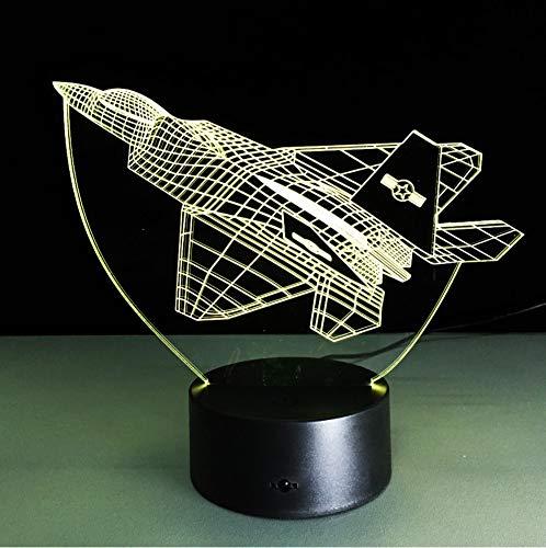 NUEVAS luces nocturnas para aviones, lámpara visual 3D, lámparas de interruptor sensible al tacto con plano de acrílico, 7 colores cambiantes