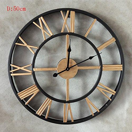 Preisvergleich Produktbild ANDEa Retro Wanduhr, Uhr Große Wanduhr Übergroße römische Ziffern Eisen Wohnzimmer Studio Kreative Wand Oberfläche Metall Pure Schwarz D: 50cm Creative.a ( Farbe : C )