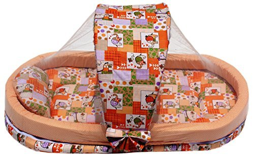 Amardeep Mattress With Mosquito Net With Bumper Guard 95*55*45 Cms XXL 0-2 yrs Animal Print