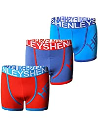 Mens 3 Pack Boxer Shorts Henleys Jersey Stretch Trunks Set