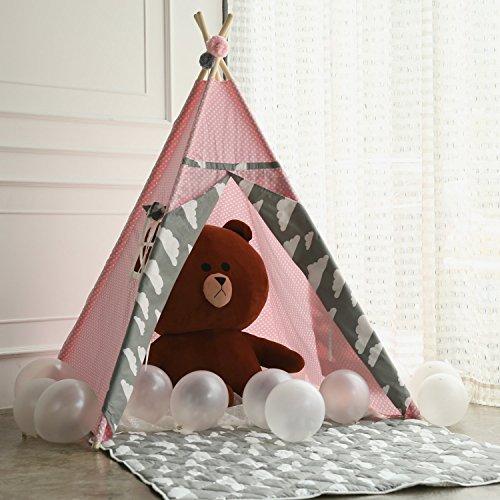 Prinzessin Kinderzelt Tipi Spielzelt, aus 100% Natürlich Baumwolle Segeltuch Indianer Spielhaus Zelt, Innen Draussen Kinderzimmer Spielzeug für Babys Kinder Mädchen Jungen, Rose Grau Wolken