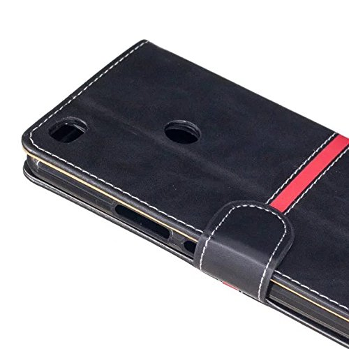 EKINHUI Case Cover Echtes Qualitäts-elegantes PU-Leder-Schlag-Standplatz-Fall-Abdeckung mit Lanyard und Karten-Schlitzen für Xiaomi MAX 2 ( Color : Gold ) Black