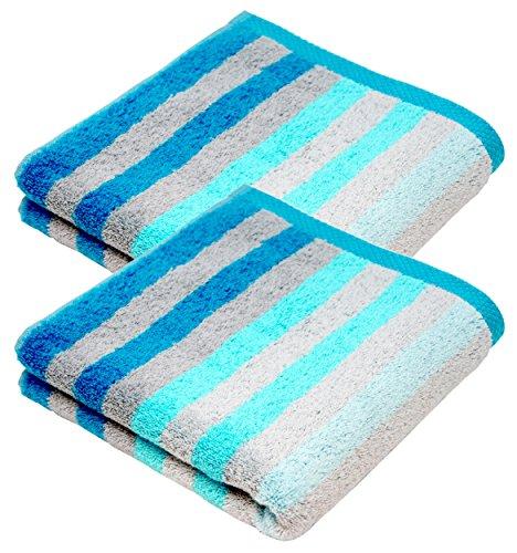 Lashuma Handtuch Set 50x100 cm, 2X Frotteetücher gestreift, Farbe: Türkis - Blau
