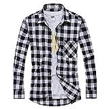 OCHENTA - Camicia Casual - Maniche Lunghe - A Quadri Flanella - Uomo N055 White Black Asian L - Italiana M