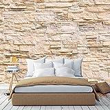 murimage Papier Peint Mur de Pierre 3D 366 x 254 cm Photo Mural Tuf Pierre Brique beige séjour chambre wallpaper colle inclus