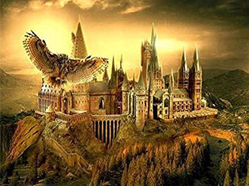 Oofficee Runde Diamant Stickerei Harry Potter Schloss 5d DIY Diamant malerei kreuzstich mosaik Muster Geschenke runde 40x50 cm