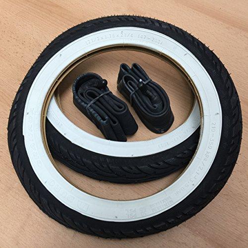 2x Duro Weißwand 12 Zoll Reifen & Schlauch AV 12 1/2 x 1.75 x 2 1/4   ETRTO: 47-203 Fahrrad Kinderwagen Roller
