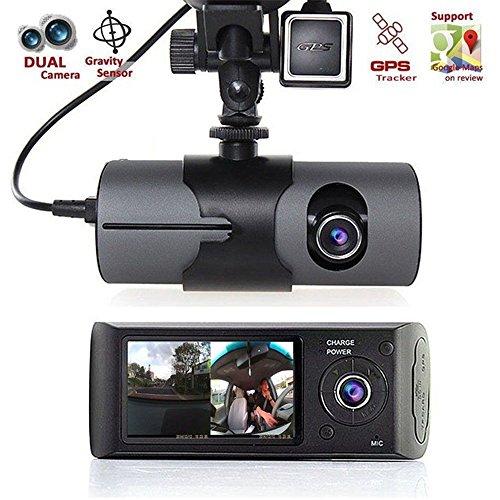 Polarlander 6,9cm Double Objectif DVR X3000R300Double de voiture avec GPS accéléromètre 140degrés grand Angle pour caméscope caméra DVR Dash Cam