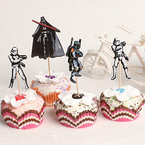 Yovvin Star Wars Cake Toppers, Kuchen Dekoration Kuchendeko Tortendekoration für Hochzeiten, Baby Kinder Geburtstag Party (24er/Pack)