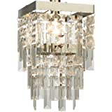 Elegant Darcey 2 Tier Square Chandelier Style Acrylic Droplet Ceiling Light Shade Pendant - Clear / Chrome
