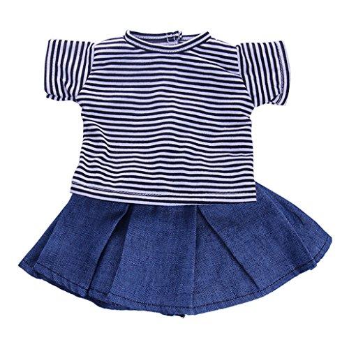 Baby-puppe Shirt (MagiDeal 2pcs 18 Zoll Mädchen Puppe Kleidung Set - Blau & Weiß gestreiftes kurzärmelige T-Shirt & Blauer Minirock)