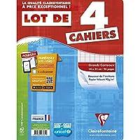 ClaireFontaine - Réf 643361C - Cahier Piqué 96 Pages 24X32 cm Grands Carreaux Coloris Assortis - Lot de 4