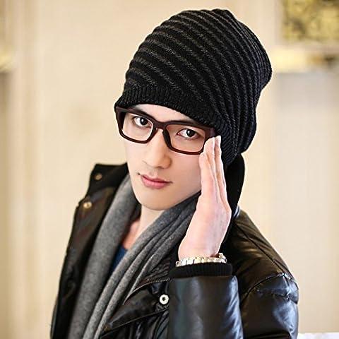 Dngy*Cappelli uomo autunno inverno femmina a doppia maglia hat street danza hip hop tappo cappuccio caldo cappuccio di testa , grigio nero