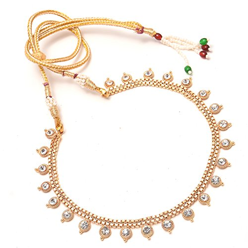 Jewar Mandi Necklace Set Ad Cz Kundan Simple Look Gold Plated Lightweight Jewelry for Women & Girls 7850