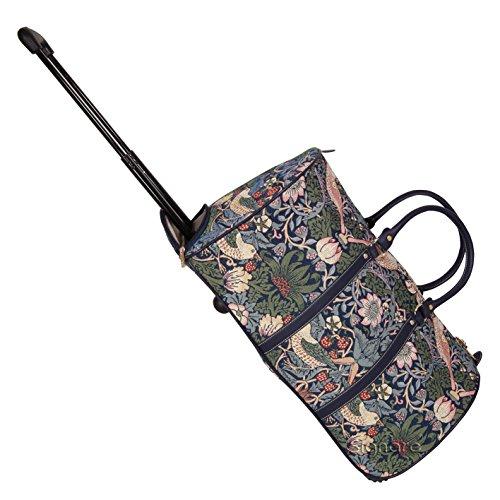 Signare fourre-tout à roulettes tapisserie/ bagage à roulettes et poignée rétractable Fraise voleur bleu