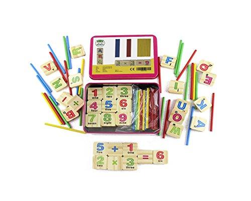 Natureich Mathe Montessori Spielzeug aus Holz inkl. Metallbox zum Aufbewahren Zahlen Alphabet lernen mit Rechenstäbchen, Bunt / Natur ab 3 Jahre für die frühe Motorik Entwicklung & Ausbildung ihres Kindes (Violett)