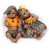 Jolie Realistisch Neugeborenes Afroamerikaner Baby Puppen 10 Zoll Reborn Baby Zwillinge Lebensechte Schnullerpuppe,Twins,10Inch