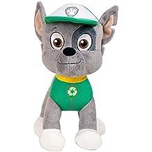 Patrulla canina (PAW PATROL) - peluche personaje Rocky, Cachorro mezcla mixta experto en reciclaje (20cm de pie) Calidad super soft - Color Verde -