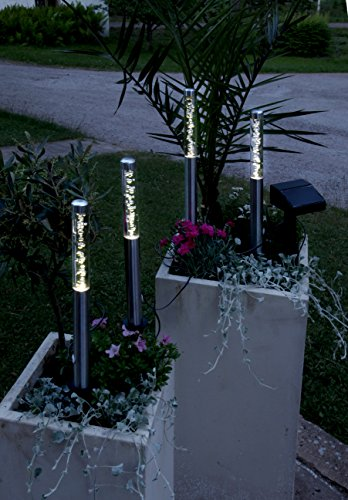 4er Set (= 4 Stück) Dekorative LED SOLAR Wegeleuchte / Gartenleuchte / Pathlights in Edelstahl