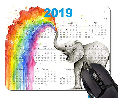 El Calendario modificó el diseño para requisitos particulares Mousepad Alfombrillas de ratón Rectángulo Antideslizante Alfombrilla de ratón Gaming Mouse Pad (Acuarela Elefante Aerosol),Estera de Goma