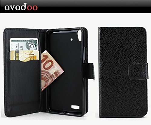 avadoo® Medion Life P5004 Flip Case Cover Tasche Schwarz mit Magnetverschluss und Dualnaht als Cover Tasche Hülle