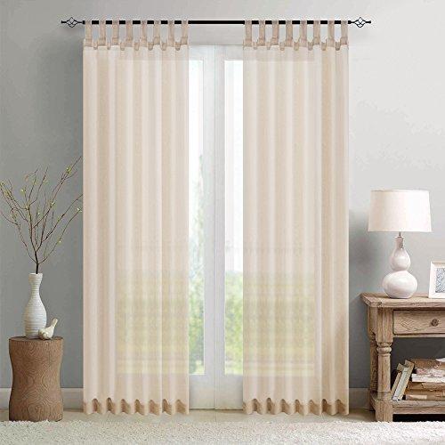 Preisvergleich Produktbild TOPICK Sheer Vorhang mit Stangendurchzug transparent Gardinen 2 Stücke Gaze paarig Vorhänge Schlafzimmer 225 cm x 140 cm(H x B),2er-Set,Nature
