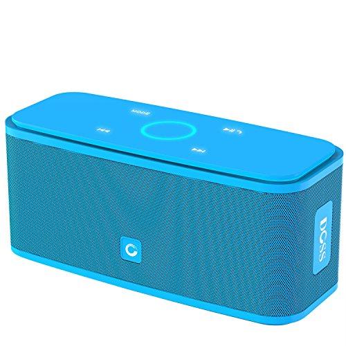Cassa Altoparlante Bluetooth portatile Soundbox DOSS,Pulsanti Touch, Suono Stereo, Microfono Integrato, Slot per Scheda TF, AUX-IN, 12 ore di Autonomia, Compatibile con iPhone, Android, PC ( Azzurro)