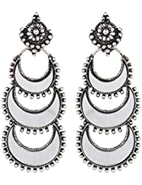 Anishop Jewellery German Silver Afghani Dangler Hook Chandbali Earrings Mirrors