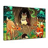 Keilrahmenbild - Kinderbild - Waldtiere III Cartoon - Waldgeschichten bei Frau Eule - 120 x 90 cm - Bilder als Leinwanddruck - Wandbild von Bilderdepot24 - Kinder - Natur - Tiere des Waldes