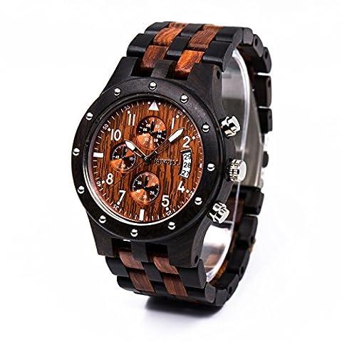 Bewell W109D Herrenuhr Multifunktionale Quartz Armbanduhr Sport-Chronograph-Funktion mit Kalender Anzeige Hölzerne Uhren (Schwarz & (Chronograph Metal-band)