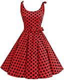 bbonlinedress 1950er Vintage Polka Dots Pinup Retro Rockabilly Kleid Cocktailkleider Red Black Big Dot L