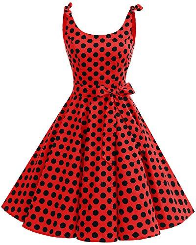 bbonlinedress 1950er Vintage Polka Dots Pinup Retro Rockabilly Kleid Cocktailkleider Red Black Big Dot L
