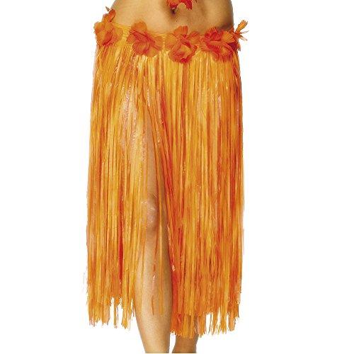 Smiffys-29-pulgadas-Hawaiian-Hula-falda-con-flores-y-velcro-de-fijacin-Naranja