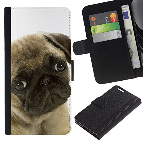 """Sindrome depressiva stagionale, motivo: cane carlino con occhi per cani e animali domestici, con fessure per carte di credito e supporto a portafoglio in pelle PU, Cover protettiva Apple (13,97 cm (5,5"""")!) iPhone 6 Plus/6S Plus"""