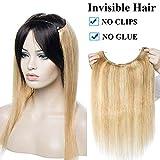 Haarteil Extensions Echthaar Haarverlängerung 1 Tresse Haare Haarverdichtung Honigblond/Hellblond #18p613 18