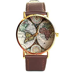 Old World Map Geographic Leather Men and Women Bracelet Watch