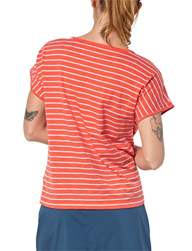 Jack Wolfskin Damen Reise gestreift T-Shirt Hot Coral Stripes