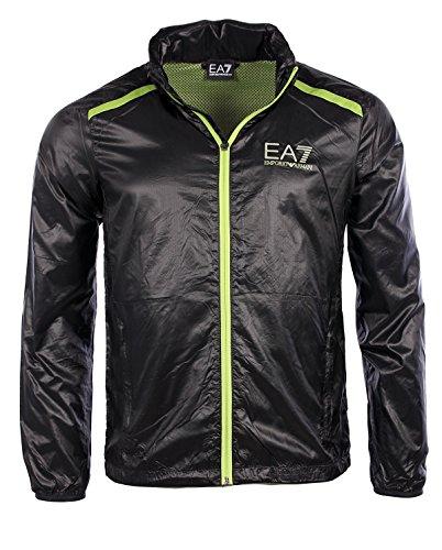 Emporio Armani EA7 Herren Men Jacke Jacket Regen Rain Schwarz Black Kapuze (L)