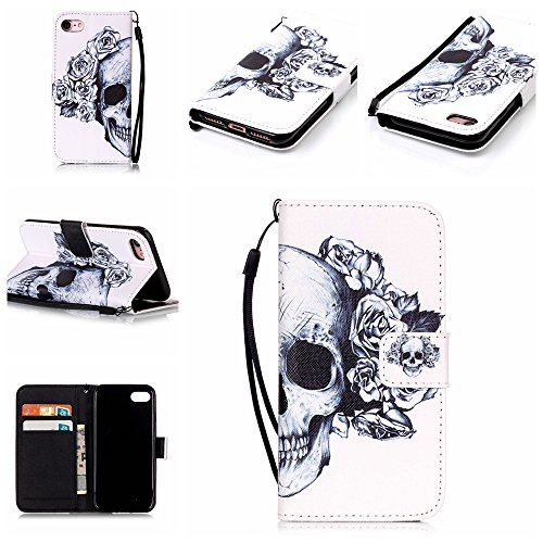 Custodia iphone 7 Plus, iphone 7 Plus Case, Cozy Hut ® Retro Colorful Drawing Art Painted Premium PU Leather Magnetic Flip Wallet Cover with Detachable Hand Lanyard & Card Slots & Stand Function for A Rose Skull