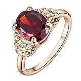 Yoursfs Zarte Hochzeit Ringe für Frauen & 18 K Rosegold Vergoldete Verlobungsringe Rubin Kristall Kleid Schmuck für Frauen Valentinstage Geschenk
