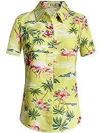 SSLR Women's Floral Flamingos Casual Button Down Aloha Hawaiian Shirt